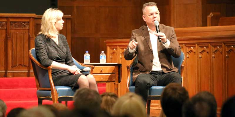 Turkish political prisoner, pastor Brunson speaks at College
